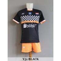 Baju Olahraga Kaos Badminton Setelan Bulutangkis Y51 Black
