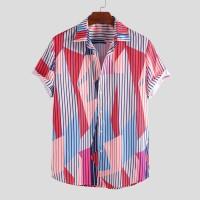 [PROMO] Men Stripe Color Block Pattern Short Sleeve