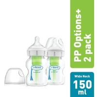 """Dr.Brown's 5oz / 150ml PP Wide-Neck """"Options+"""" Baby bottle, 2- Pack"""