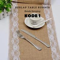 Taplak Meja Table Runner Burlap Lace Vintage Decor Kain Goni Import