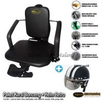 Paket Kursi Boncengan Motor Matic / bebek POLOS + Helm Retro Anak