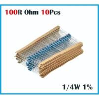 Resistor 100 Ohm 100R Ohm 100 R 1/4W 1% Metal film 10x 10 pcs