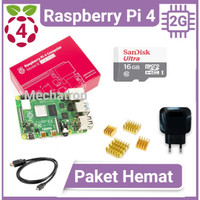 Raspberry Pi 4 model B 2GB Paket Hemat Siap Pakai Made in UK Pi4 2 GB - Enam Belas