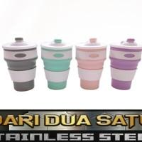 Gelas Silikon Collapsible Lipat Mug Botol Minum Portable Cup 350 ml