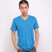 Muscle Fit Kaos Polos V-Neck Lengan Pendek Cotton -MISTY Color- 1 PCS