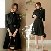 midi mini dress korea dress anggun belt korea black