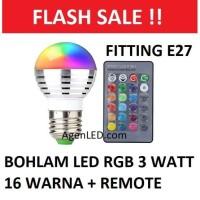 Lampu LED RGB 3W bohlam 3 watt bulb 3 w REMOTE CONTROL E27 16 WARNA R1
