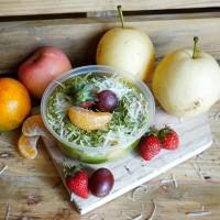 salad buah saus greentea topping greentea keju
