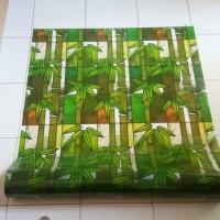 sticker kaca motif bambu hijau coklat