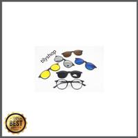 Frame Kacamata Minus Fashion Clip On 5422 Oval Sunglasses Pria Wanita