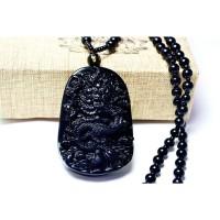 Perhiasan Kalung Keberuntungan Cina Batu Obsidian Liontin Motif Naga W