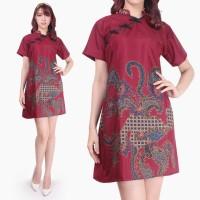 Fitria Dress batik cheongsam maxi pendek wanita jumbo fit to XL