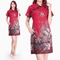 Niara Dress batik cheongsam maxi pendek wanita jumbo fit to XL