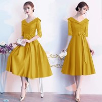 DRESS ESMERALDA PARTY DRESS BRUKAT GOLD GAUN PESTA DRESS KOREA BROKAT
