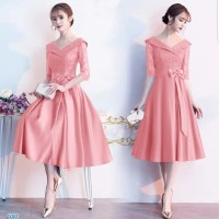DRESS ESMERALDA PARTY DRESS BRUKAT PEACH GAUN PESTA DRESS KOREA BROKAT