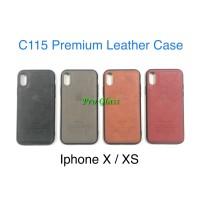 C115 Iphone X / XS Premium Leather Silicone Case / Casing Kulit