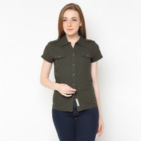 Mobile Power Ladies Short Sleeve Shirt - Green E8345A - S