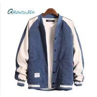 Jaket Jeans Corduroy Lengan Panjang untuk Pria