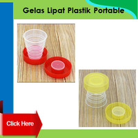 Gelas lipat plastik portable travel cup bottle bpa botol mug foldable