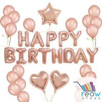 Paket Dekorasi Balon Ulang Tahun / Happy Birthday Tema Rose Gold