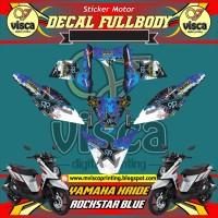DECAL STIKER MOTOR FULL BODY YAMAHA X-RIDE DESAIN ROCKSTAR BLUE