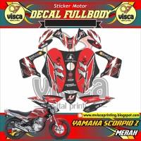 DECAL STIKER MOTOR FULL BODY YAMAHA SCORPIO Z DESAIN WARNA MERAH