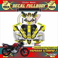 DECAL STIKER MOTOR FULL BODY YAMAHA SCORPIO Z DESAIN TECH3