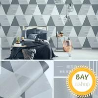 Wallpaper Sticker Dinding Elegan Motif Piramid Abu //10m x 45cm