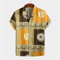 [PROMO] Mens Ethnic Color Block Pattern Printed Turn Down Collar