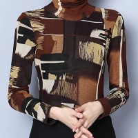 [PROMO] Women's Graffiti Pattern Color Block T Shirts Turtle Neck