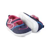 LS13 sepatu anak bayi perempuan bahan denim lembut model casual pita