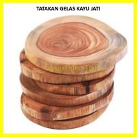 Tatakan Gelas Kayu Jati diameter 10 cm Murah