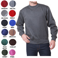 Sweater Fleece Basic Polos Murah Jaket Pria Wanita - Abu Tua
