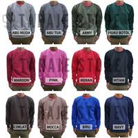 Sweater Fleece Basic Polos Murah Jaket Pria Wanita - Biru