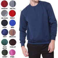 Sweater Fleece Basic Polos Murah Jaket Pria Wanita - Navy