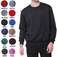 Sweater Fleece Basic Polos Murah Jaket Pria Wanita - Hitam