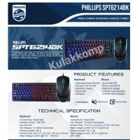 KEYBOARD MOUSE PHILIPS USB GAMING SPT6214BK