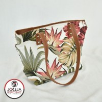 Twill Canvas Bunga Tote Bag / Tas Bahu Pundak Shoulder Wanita