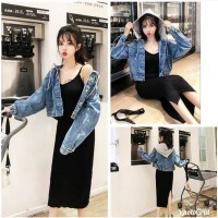 JES-PS3054 jacket jaket denim jeans hoodie casual wanita import korea