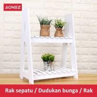 AONEZ Rak Tanaman Bunga Mini untuk Pot Bunga 2 tingkat Rak Bunga