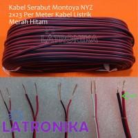 Kabel Serabut Montoya NYZ 2x23 1M Per Meter Kabel Listrik Merah Hitam
