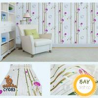 Wallpaper Sticker Dinding Motif Bulat Ungu Batang Gold //10m x 45cm