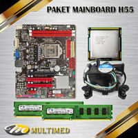 PROMO Paket Mainboard Soket 1156 H55 + Core i5 650+ Fan+ Ram DDR3 4GB