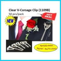 Clear V Corsage Clip Transparant 10 Barang Pengantin Korsase Isi