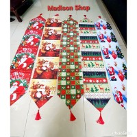 Taplak Meja Natal Santa Murah Dekorasi Table Runner Merry Christmas