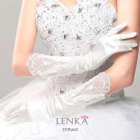 Sarung Tangan Pesta Brokat Modern Full l Wedding Gloves Lenka - STP003 - Putih Tulang