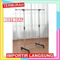 Stand hanger single Murah - rak Serbaguna dengan 4 roda jemuran baju