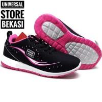 Sepatu Sekolah Running Anak Ando Gilda Black Pink kets Size 33-40 - 38