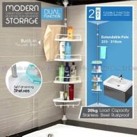 Rak Gantung Toilet Corner Tempat Shampo Sabun Sikat Gigi Kamar Mandi