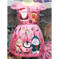 Dress Anak Perempuan Christmas Santa Deer Pink (082005)